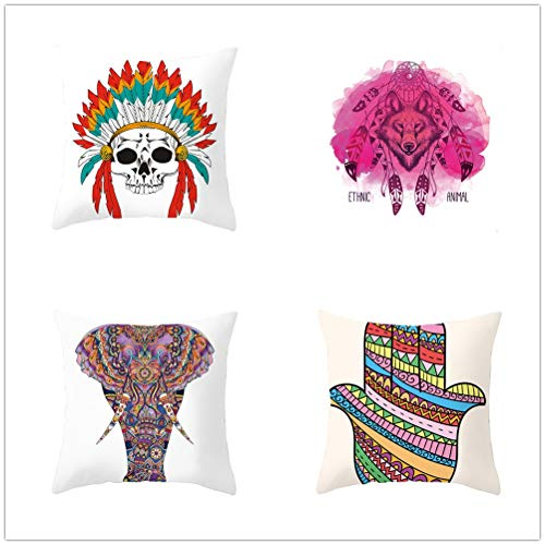 4 Pcs Cushion Covers Decorative Throw Pillow Cover Skull Elephant Square Velvet Soft Throw Pillow Case Sofa Car Pillowcase for Living Room Couch Bedroom Pillowcases Decor T1701 60x60cm/23.4x23.4in