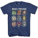 Avengers Expression Moods Spider-Man Hulk Thor Iron Man Black Panther Strange America Mens Adult Graphic Tee T-Shirt (Premium Navy Heather, Large)