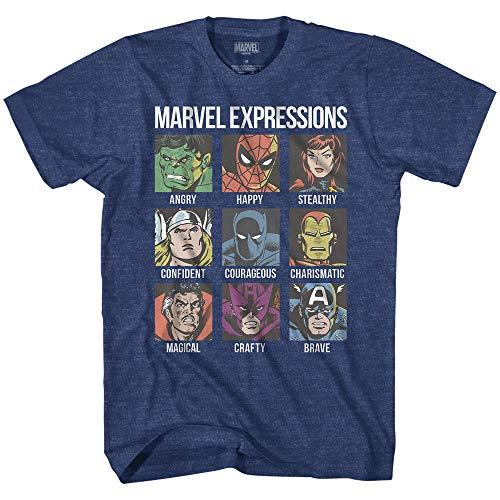 Marvel Avengers Expression Moods Homem-Aranha Hulk Thor Homem de Ferro Pantera Negra Estranho América Camiseta Masculina Adulta, Premium Navy Heather, Small