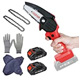 Mini Chainsaw Cordless, 4-Inch Electric Portable Tree Saw with Brush less Motor, One-Hand...