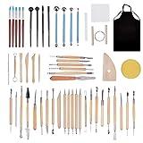 BENECREAT 55PCS Herramientas de Modelado de Puntos Conjunto Completo de Herramientas de Talla de Cerámica para Profesionales o Principiantes