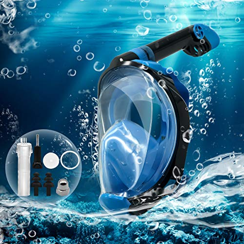 FunnySeed Full Face Snorkel Mask Upgraded Breathing Mechanism Snorkeling Mask 180° Panoramic Seaview Anti-Leak Safety Breathing System Anti-Fog for Youth and Adult (Blue, S/M)