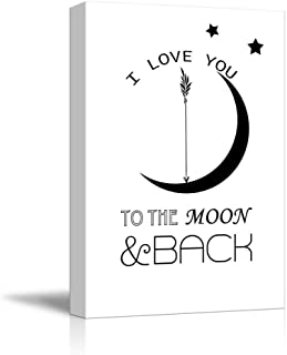 wall26 - Quote with Stars and The Moon - I Love You to The Moon and Back - Canvas Art Home Decor - 12x18 inches