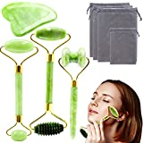Jade Roller & Gua Sha Set, 4 in 1 Gua Sha Massage Tool Facial Beauty Roller Tools for Face, Neck, Eyes, Body Muscle Relaxing and Relieve Fine Lines and Wrinkles