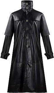CosplayDiy Men's Black Steampunk Gothic Jacket Adult Vampire Hunter Cosplay Matrix Button Long Trench Coat Costume