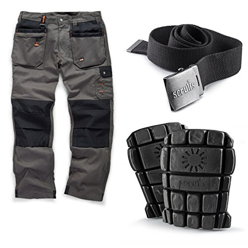 Scruffs Worker Plus Work Trousers with Knee Pads and Grey Clip Belt (36W Short)