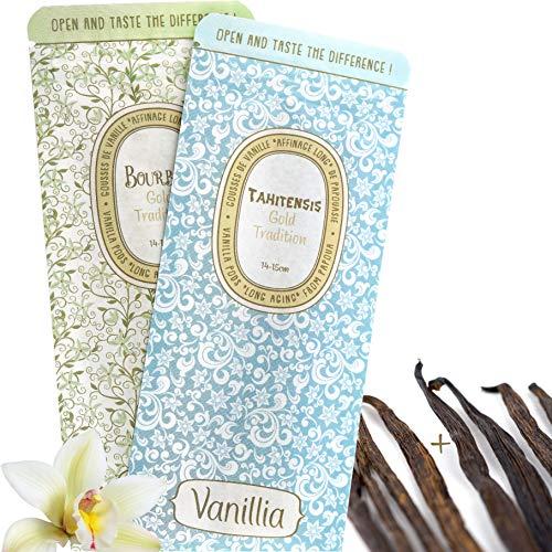 VANILLIA • 8 Gousses SÈCHES de vanille pour Macérations • 4 Gousses de Vanille Bourbon + 4 Gousses de Vanille Tahitensis • 2 Sachets Refermables et 100% Biodégradables