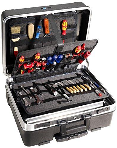 B&W Werkzeugkoffer GO mobil mit Werkzeughalteschlaufen (Koffer aus ABS, Volumen 36l, 48 x 37,5 x 20 cm innen) 120.04/L, ohne Werkzeug