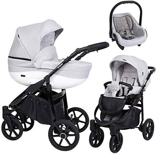 Kunert cochecito de bebé MASTER silla de paseo silla de coche asiento de bebé juego completo 3 en1 (Vaquero gris, Color del marco: Negro, 3en1)