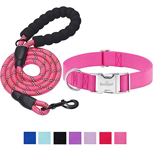 beebiepet Classic Dog Collar with Strong Metal Buckle Adjustable Dog Collars for Small Medium Large Dogs (Collar+Leash M Neck 14