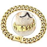 PRADOG Gold Chain Dog Collar Designer Dog Cuban Link Chain Collar with Safty Design Buckle 19mm Metal Stainless Steel Training Walking Training Collar(19MM, 12