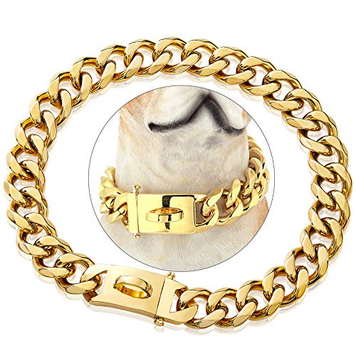 PRADOG Gold Chain Dog Collar Designer Dog Cuban Link Chain Collar with Safty Design Buckle 19mm Metal Stainless Steel Training Walking Training Collar(19MM, 12')