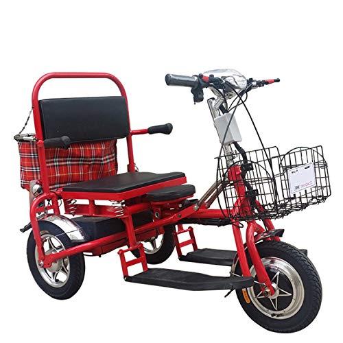 JHKGY Scooter électrique Pliant de mobilité à 3 Roues -Tricycle Portable pour Adultes,Scooter Pliant,Scooter de mobilité à 3 Roues pour Adultes/Personnes âgées/handicapées,Rouge
