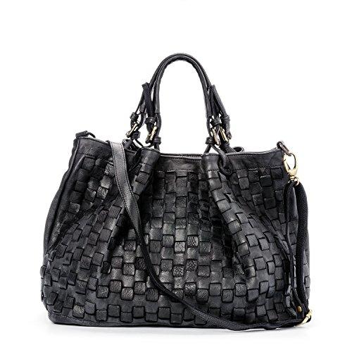 Ira del Valle, Damen Handtasche, Echtes Leder, Vintage, Umhängetasche Frau Modell Caraibica Tasche, Made In Italy (Schwarz)