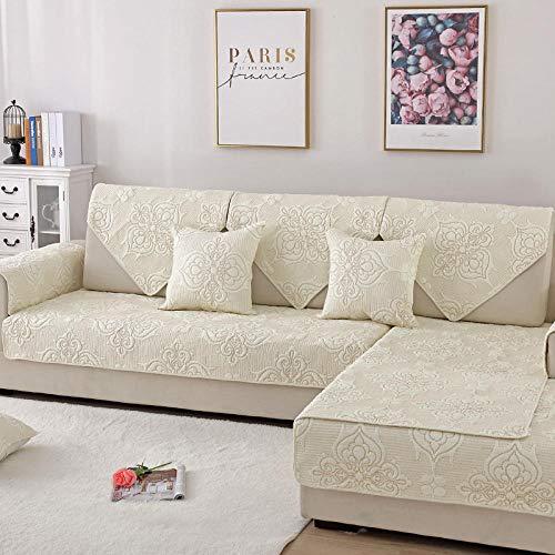 YUTJK Corner Sofa Slipcover,Funda de sofá de algodón Bordado de Doble Cara,cojín de Dormitorio de Sala de Estar,Funda de Silla,Toalla,Manta de Respaldo-Beige_70 * 70cm