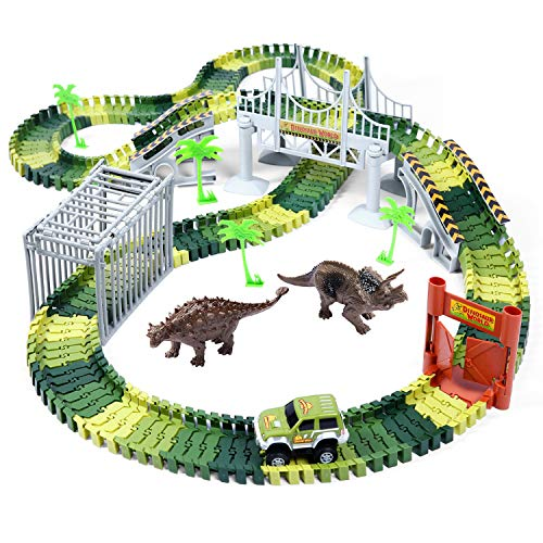 Product Image of the Ohuhu Dinosaur Race Track Toys, 230 Pieces Race Tracks Play Set, 2 pcs Cool...