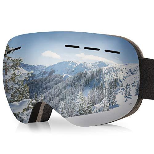 arteesol Skibrille, Snow Snowboardbrille Damen Herren Sportbrillen UV-Schutz Anti-Fog Skibrille (Schwarzer Rahmen (graue Gläser))