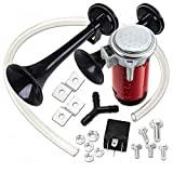 Zone Tech 12V Dual Trumpet Air Horn - Premium Quality Classic Black...