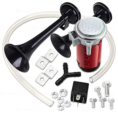 12V Dual Trumpet Air Horn -Zone Tech Premium Quality Classic Black Super Loud Powerful Train Sound Shiny Dual Car Van Truck Boat Air Horn