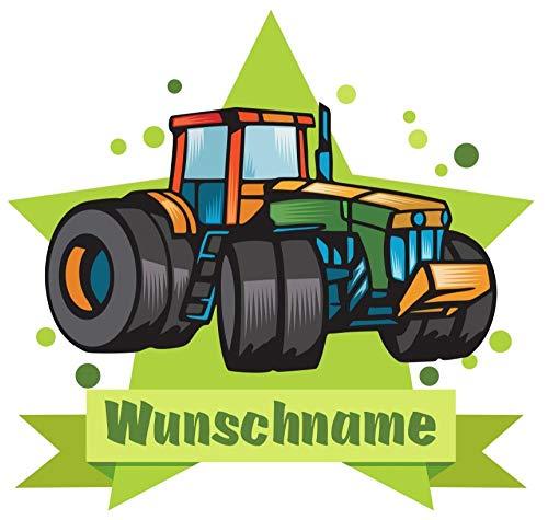 Samunshi® Traktor Türschild Wandtattoo mit Name personalisierbar Kinderzimmer Türaufkleber Baby Wandaufkleber in 9 Größen (25x22cm Mehrfarbig)