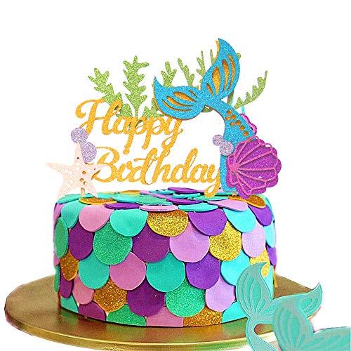 JeVenis Decoración de pastel de sirena con purpurina Mermai para decoración de tarta de cumpleaños para sirena, baby shower, suministros de fiesta de cumpleaños