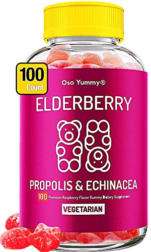 (100) Sambucus Elderberry Gummies for Kids & Adults (Vegetarian) Immune System Booster w/Propolis, Echinacea & Vitamin C | Sambucol Black Elderberry Gummy | Chewable Vitamin Immune Support Supplement