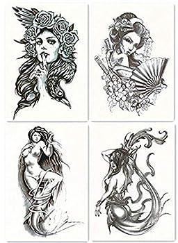 DaLin 4 Sheets Temporary Tattoos for Men Women Sexy Mermaid Sea-maid Japanese Geisha Hawk Lady