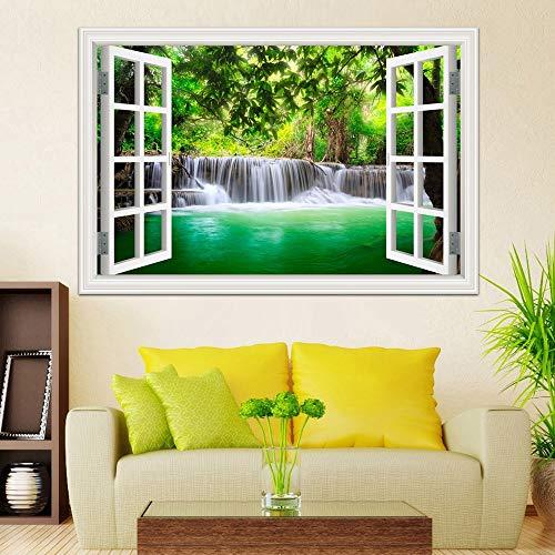 3D Wasserfall Fensteransicht Wandaufkleber Aufkleber Tapete Natur Landschaft Aufkleber für Wohnzimmer Wohnkultur Wandkunst Poster