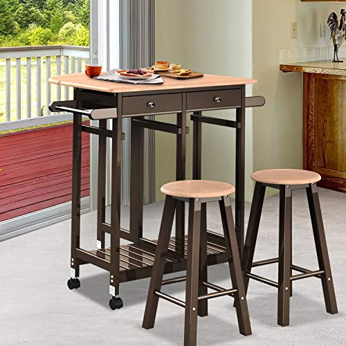WATERJOY Removable Dining Table, 1 Kitchen Cart and 2 Stools Dining Car Table, Casual Home Foldable Tabletop Breakfast Cart Table Set,Dining Countertop Table with Storage Drawer Brown