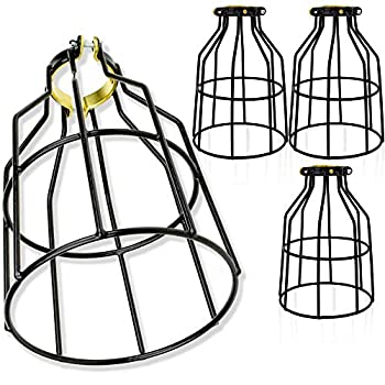Newhouse Lighting WLG1B-4 Cage for Pendant Lamp Holder Ceiling Fan Light Bulb Covers Vintage Open Style Industrial Grade Adjustable 4-Pack Black 4 Count