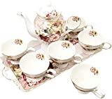 fanquare 8 Piezas Juegos de Té de Porcelana Inglesa, Vintage Juegos de Tazas de Café de Flores Rojas, Servicio de Té para Bodas