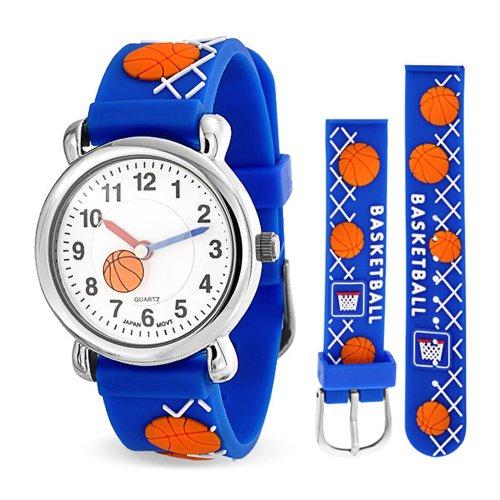 Bling Jewelry Geneva Blau Jungen Basketball Armbanduhr mit Edelstahl Hinter