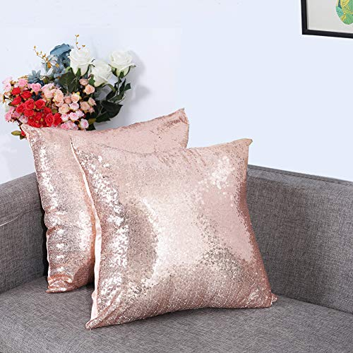 Eternal Beauty Set of 2 Sequin Decorative Pillow Cover Rose Gold Throw Pillow Covers for Couch Sofa Throw Pillows 18 X 18 Inches