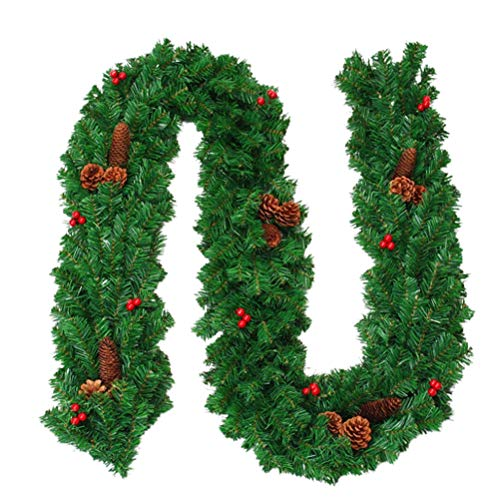 Hzemci Christmas Garland - 2.7M Christmas Realistic Artificial Garland with LED Lamp Home Window Garland, Christmas Greenery Garland, Holiday Garland for Home, School, Office, Hotel, Shopping Center