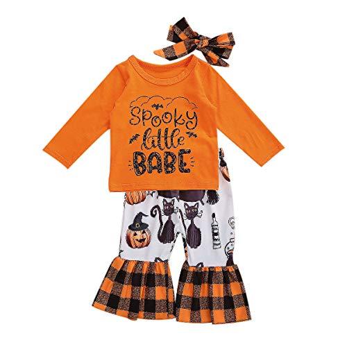 Baby Girls Halloween Clothes Infant Ruffles Long Sleeve Pumpkin T-Shirt Top Legging Pants Set (Orange, 18-24 Months)