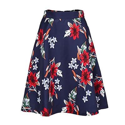 JOFOW Women's Summer Floral Print Vintage Skirt High Waist Mini Dress