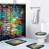 Britimes Duschvorhang-Sets, bunte Ziegel mit rutschfesten Teppichen, WC-Deckelbezug & Badematte, langlebig & wasserdicht, für Badezimmer-Dekor, 182,9 x 182,9 cm