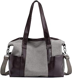 حقيبة يد - حقيبة قاطرة ذات سعة كبيرة، حقيبة قماش بوليستر مقاومة للتآكل، حقيبة ظهر عصرية للسيدات رمادي (30 سم × 29 سم × 12 ...