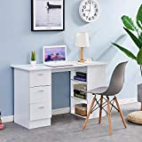<span class='highlight'><span class='highlight'>4HOMART</span></span> Wooden Computer Desk, Home Office Workstation PC Laptop Gaming Writing Table Study Desk with 3 Drawers and 3 Tier Shelves (White)