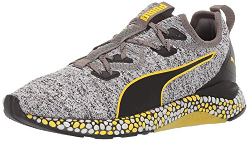 PUMA Men's Hybrid Runner Sneaker Black White-Blazing Yellow, 10.5 M US