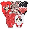 Disney Minnie Mouse Girl's 5-Piece Short Sleeve Baby Bodysuit Onesie Set, Pink/White/Black, Size 9-12 Months
