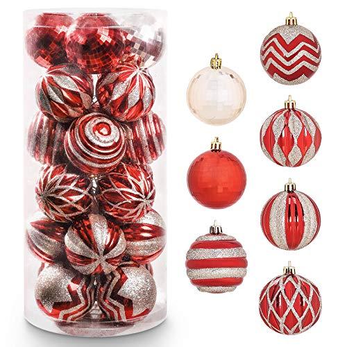 Yorbay Weihnachtskugeln 24er Set Christbaumkugeln 6cm aus Kunststoff in Rot und Hellgold mit Aufhänger, Weihnachtsdeko für Weihnachten, Weihnachtsbaum, Tannenbaum, Christmasbaum(Mehrweg)