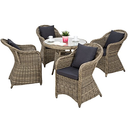 TecTake 800273 Aluminium Polyrattan Garten Sitzgruppe, wetterfest, 4 Gartensessel und 1 Tisch, inkl. 8 Kissen - Diverse Farben - (Natural | Nr. 401765)