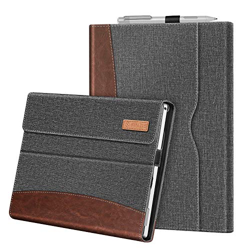 Fintie Case for 12.3 Inch Microsoft Surface Pro 7, Surface Pro 6, Surface Pro 5, Surface Pro 4, Pro 3 - Portfolio Business Cover with Pocket, Compatible with Type Cover Keyboard (Gray/Brown)
