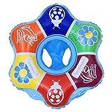 GEMVIE - Seggiolino da piscina per bambini, 1-4 anni, motivo: cartoni animati con sirena salvagente e sedile gonfiabile, in PVC, materiale di sicurezza (blu fiori)