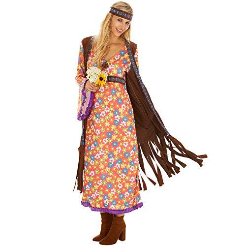dressforfun Disfraz de Hippie Srta. Peacemaker para Mujer | Espectacular Eestido Largo con Chaleco de Imitación de Terciopelo | Incl. Cabeza (XXL | No. 300936)