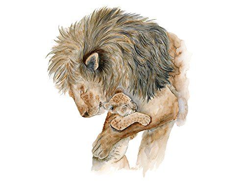 Dad and Baby Lion Watercolor Nursery Wall Art Print In Various Sizes, Safari Animal Nursery Decor