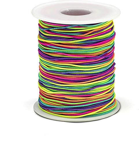 Bastex 1mm Rainbow Color Elastic Beading Cord Thread. Small Stretchy String for Jewelry Making, Bracelet, Necklace, Crafting, Beads and More. 100 Yards Spool