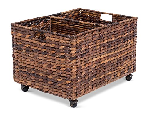 BIRDROCK HOME Abaca Rolling Storage and Recycling Bin - Divided Decorative Cart - Kitchen - Paper Cans Glass Plastic Sorter - Toy Blanket Storage