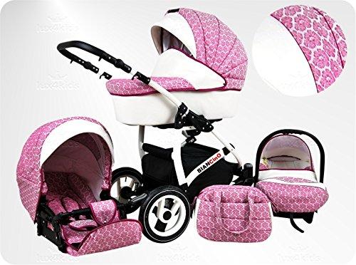 Lux4Kids BIANCinO Kinderwagen Komplettset (Autositz & Adapter, Regenschutz, Moskitonetz, Schwenkräder) 01 Eco Leather White & Rose